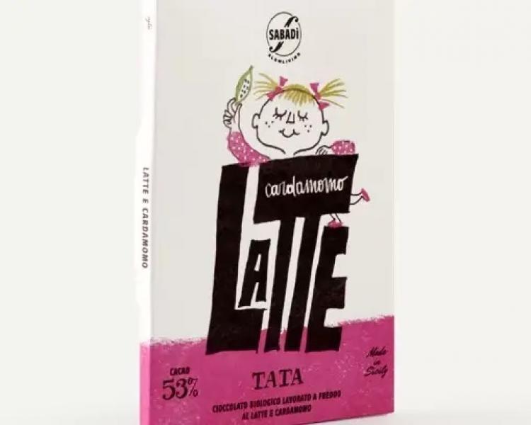 Cioccolato al latte e cardamomo BIO lavorato a freddo – 53% cacao – TATA