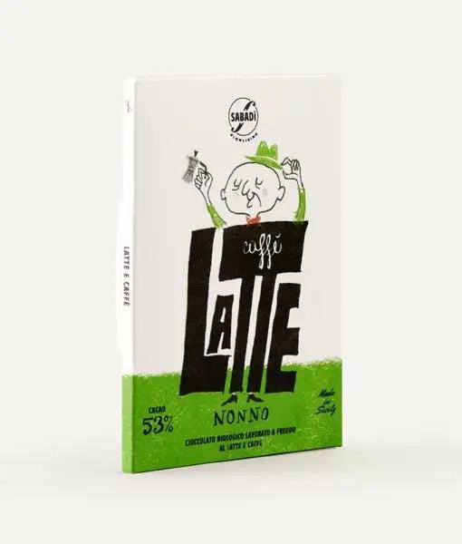 Cioccolato al latte e caffè BIO lavorato a freddo – 53% cacao – NONNO