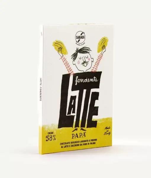Cioccolato al latte fondente BIO lavorato a freddo – 58% cacao – PAPA'
