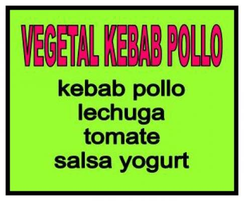 Medio vegetal kebab de pollo