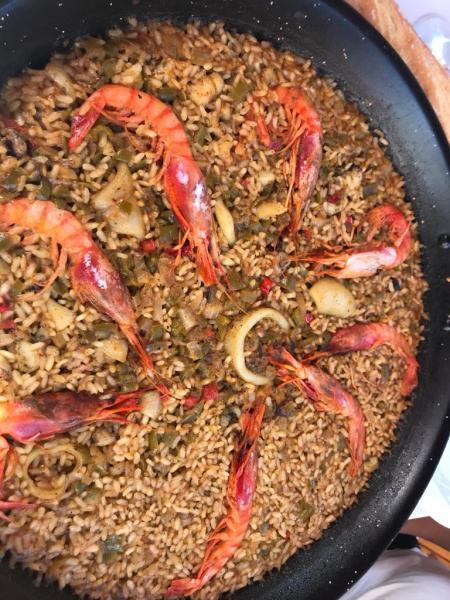 Paella de Gambas Rojas, Sepia y Calamar