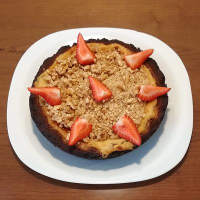 Tarta Cheesecake vegana de chocolate con nueces