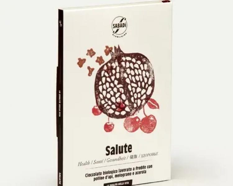 SALUTE – Cioccolato biologico con polline d'api, estratti di melograno e acerola